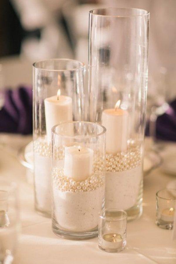 centros de mesa con perlas para bodas