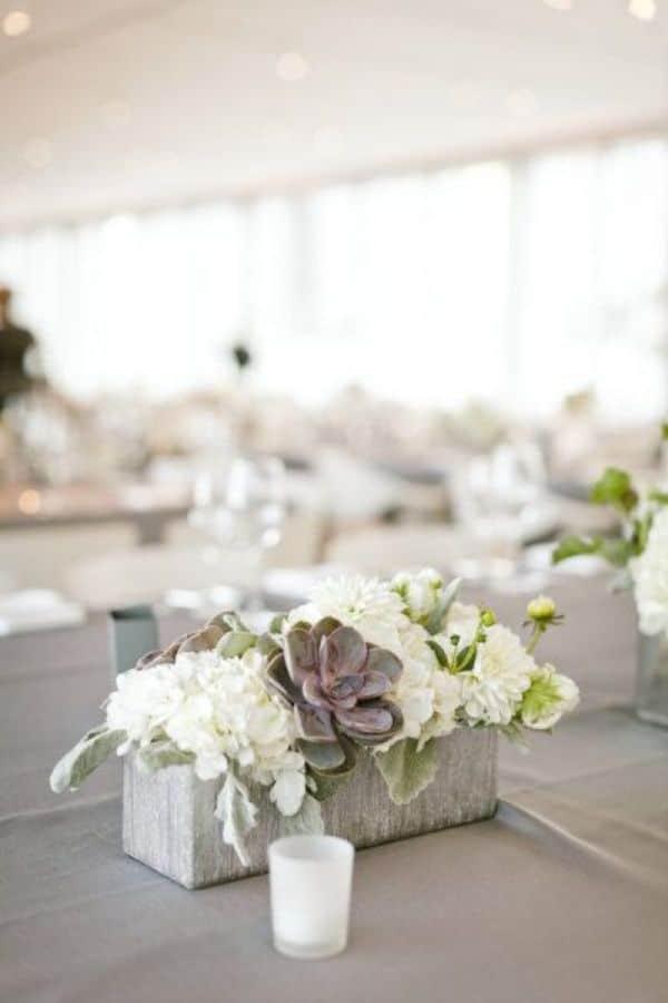 centros de mesa rectangulares con canastos