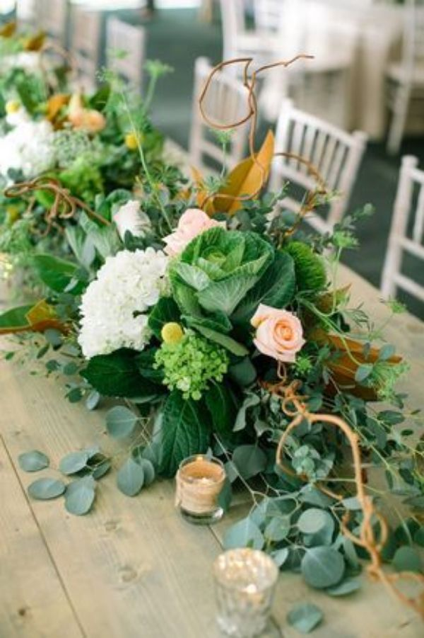 centros de mesa rectangulares con flores