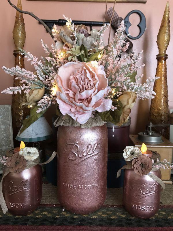 centros de mesa rose gold ideas