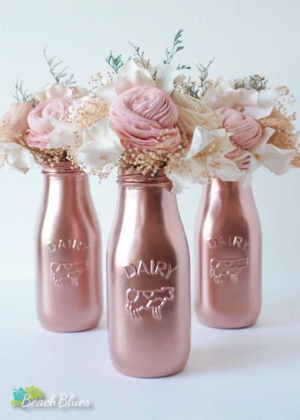 centros de mesa rose gold para quinceañeras
