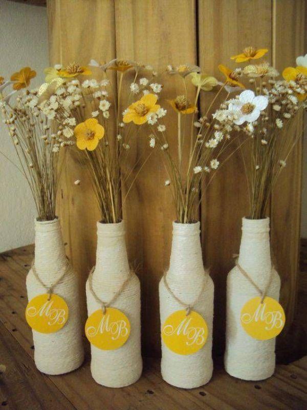centros de flores secas originales en jarrones