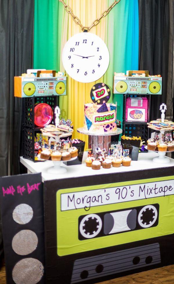 decoracion fiesta de los 80 y 90 para fiesta
