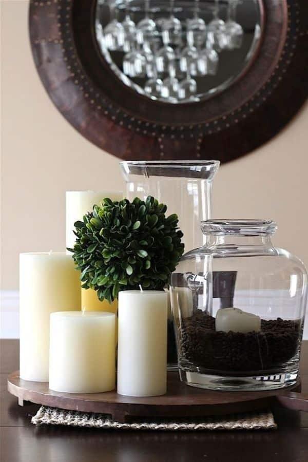 centro de mesa para cocina con velas