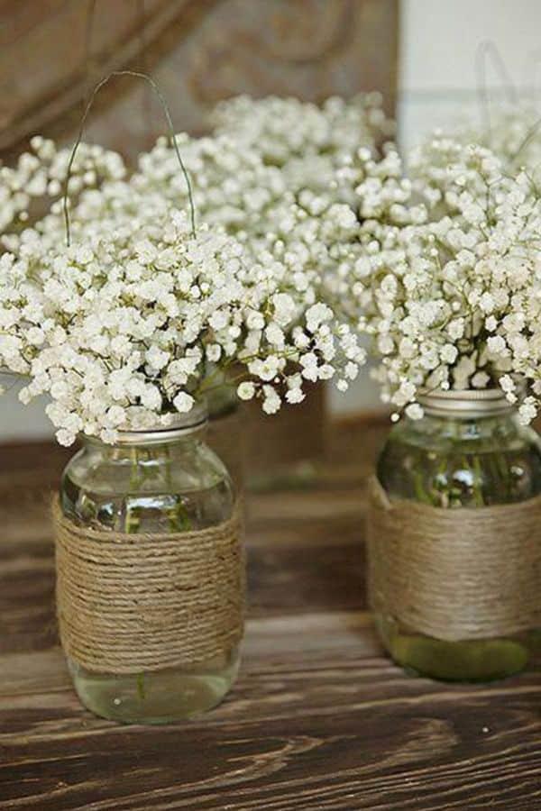 decoración de bodas sencillas centros de mesa