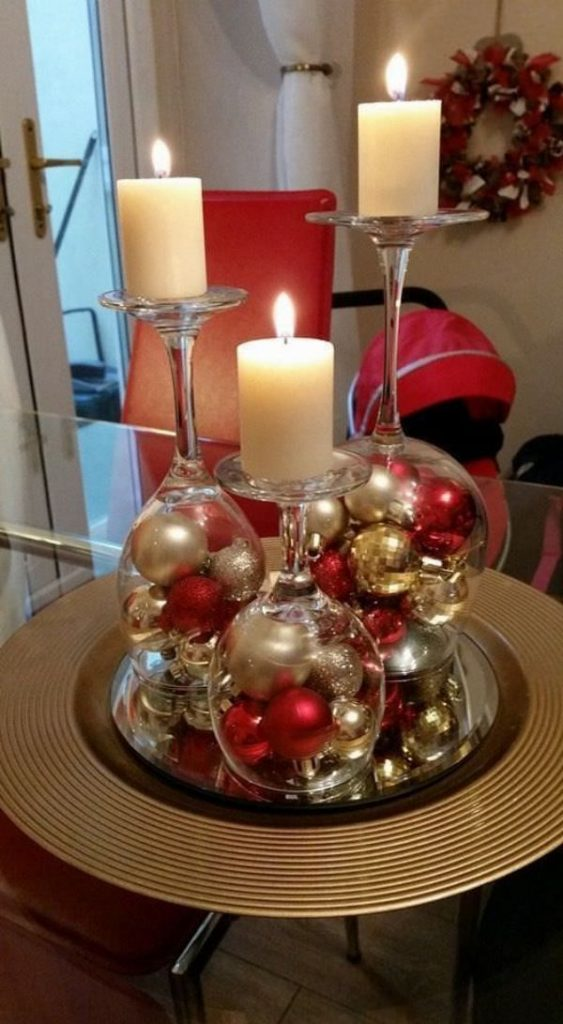 decoracion de mesa de navidad con velas