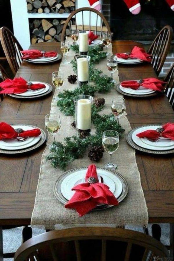 decoracion de mesa de navidad para cenar