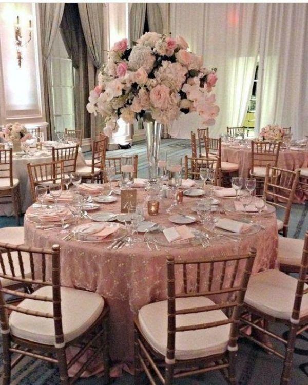 decoraciones de mesas para 15 años rosa