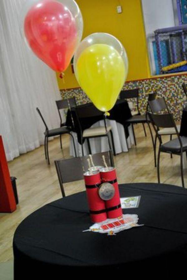 centros de mesa de fortnite con globos