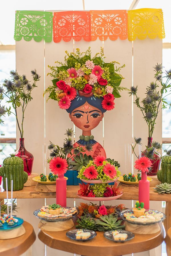 centros de mesa de frida kahlo decorados