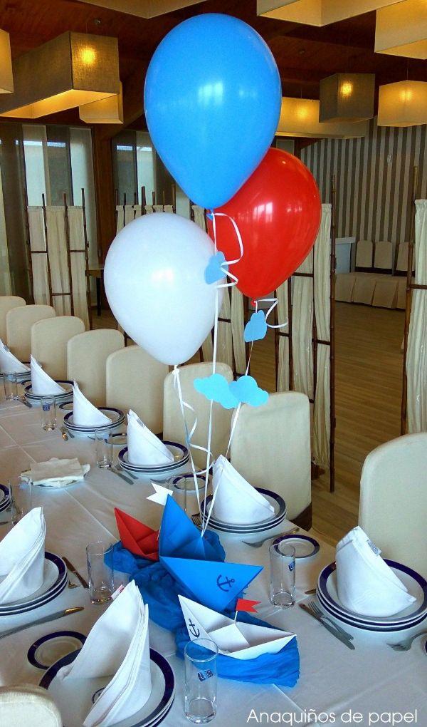 centros de mesa de marinero con globos