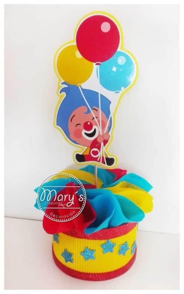 centros de mesa de plim plim con globos