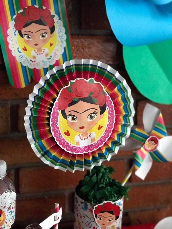 centros de mesa frida kahlo con cartulina