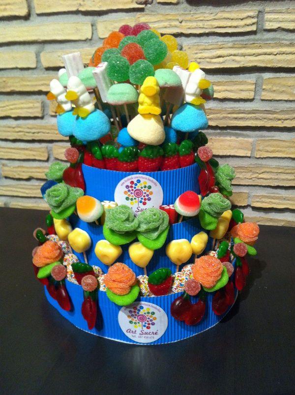 centros de mesa con gominolas para mesas de dulces